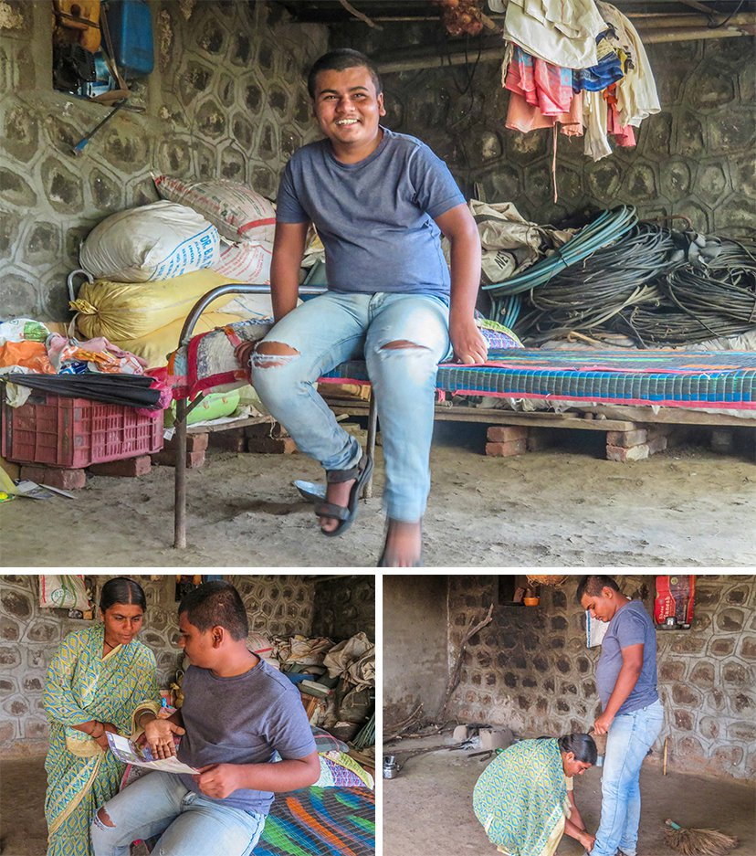 Sanket Humbe's mother Manisha tries to teach him after she returns from the farm. But he often becomes aggressive and stubborn: 'Sometimes he doesn't sleep through the night. Just sits on the bed, swaying back and forth'