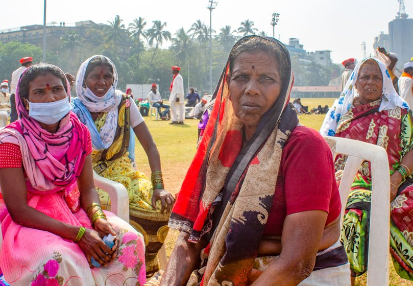 Left: Bhima Tandale at Azad Maidan. Right: Lakshmi Gaikwad (front) and Suman Bombale (behind, right) and Bhima came together from Ambevani village