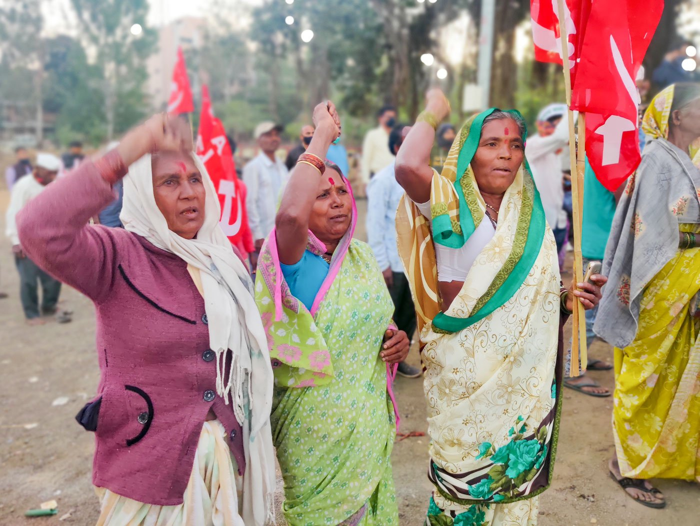 Mangal (right) is more outspoken, Mirabai (middle) is relatively shy, but both women farmers know exactly why they and the other farmers are protesting, and what the fallouts of the farm laws could be