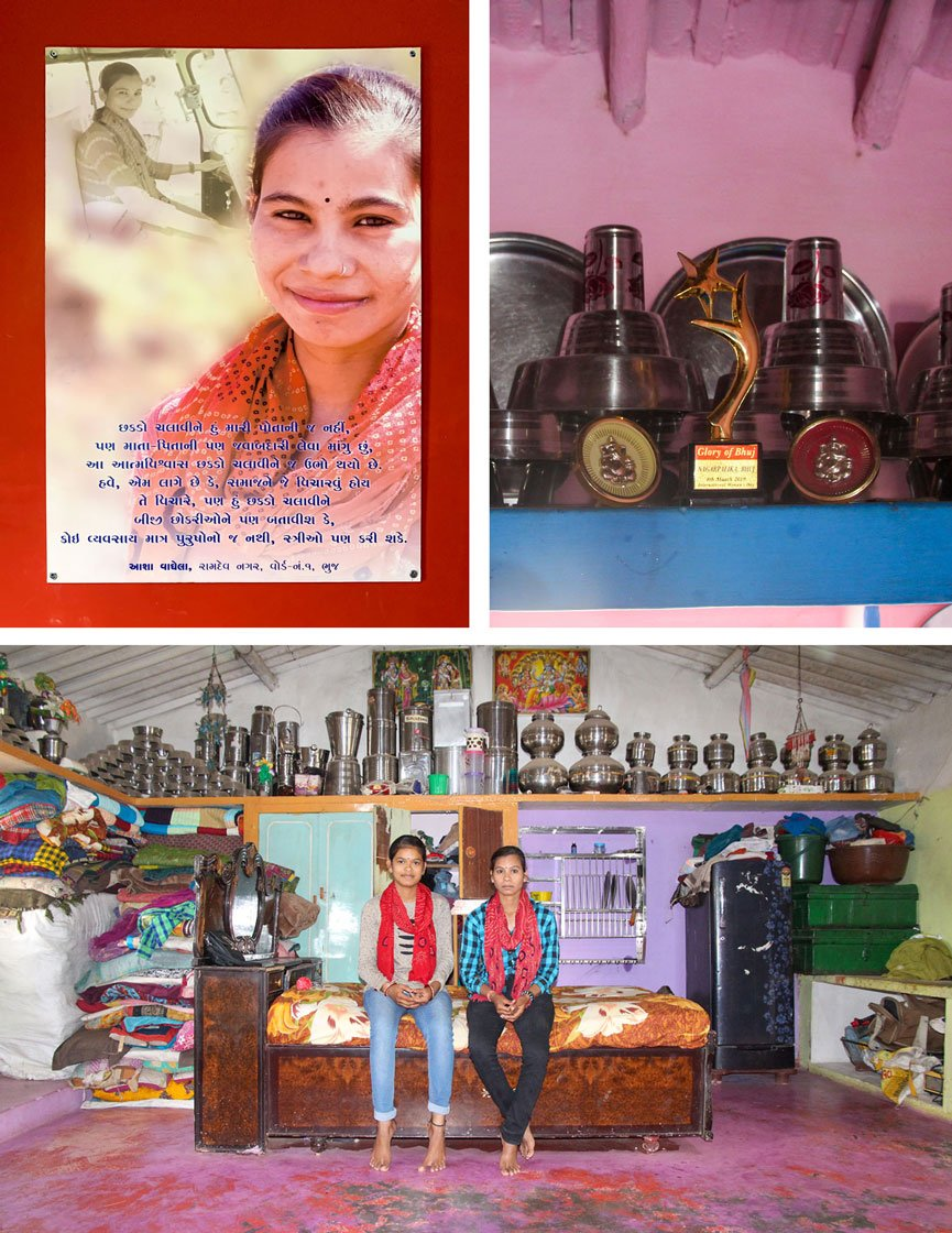 "Top left: Asha features in a poster of a women's group. ""People of the samaj can question me as much as they want. By driving the chakada I can tell the other girls that no profession is meant only for men, women can do it too."" Top right: The 'Glory of Bhuj' trophy awarded to Chandni by Bhuj Municipality on International Women's Day in 2019. Bottom: Chandni and Asha (right) at Asha's home"