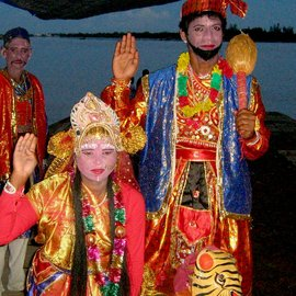 Villagers dressed as Ma Bonbibi and Dakshinrai