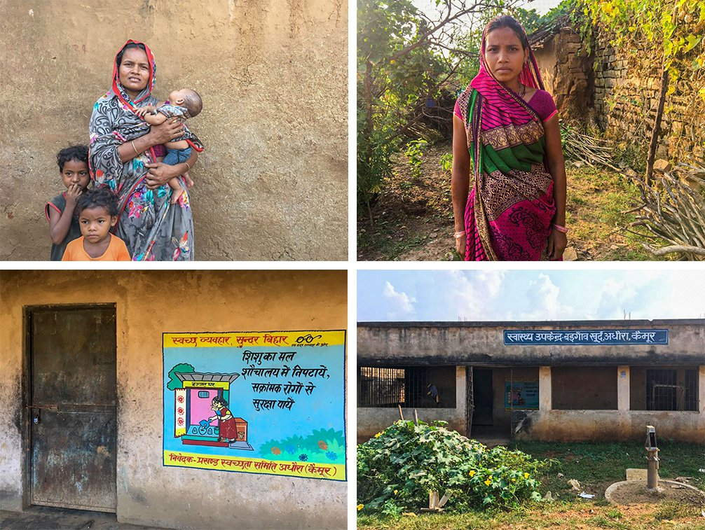 Top left: 'After four children, you don't need much assistance', says Sunita Devi. Top right: Seven months pregnant Kiran Devi has not visited the hospital, daunted by the distance and expenses. Bottom row: The village's abandoned sub-centre has become a resting shed for animals