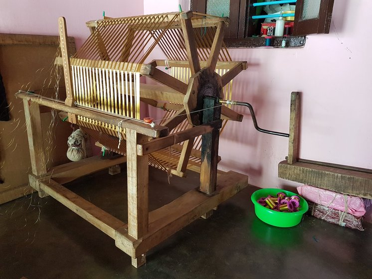 The charkha in Mani's home used to spin the kasavu (zari) into smaller rolls