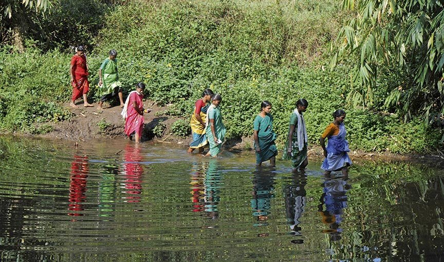Tribal women crossing water body