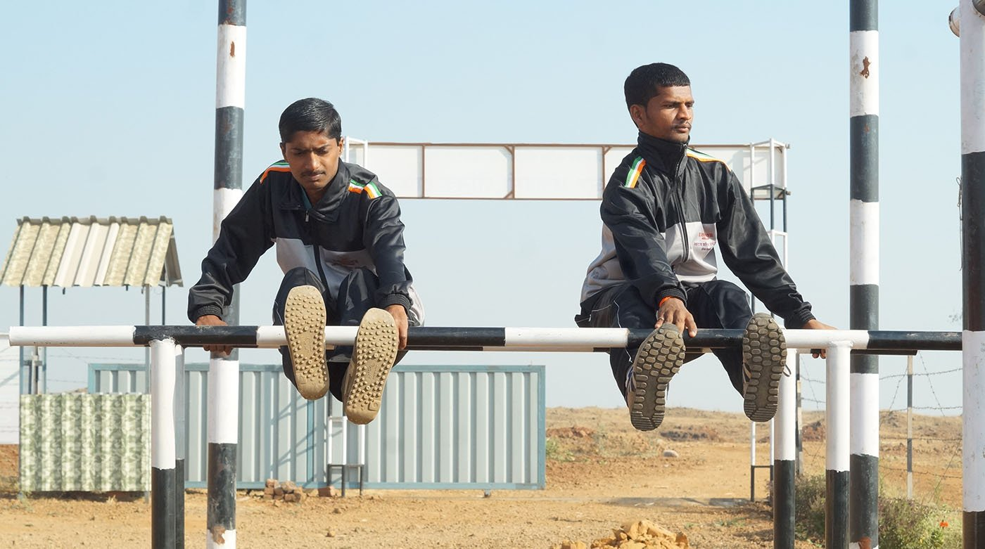 Two boys train at the Swarajya Career Academy