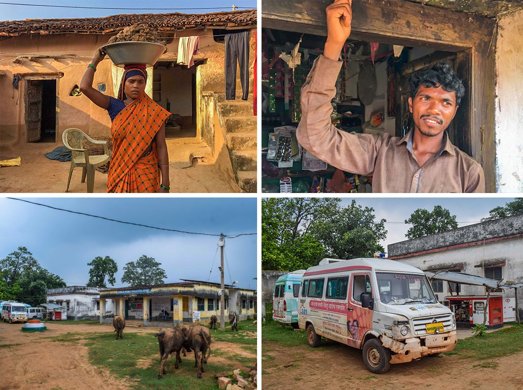 In 2018, Leelavati Devi and Ajay Oraon's (top row) baby girl developed a fever and passed away before they could take her to the PHC located close to the Kaimur Wildlife Sanctuary. But even this centre is decrepit and its broken-down ambulance has not been used for years (bottom row)