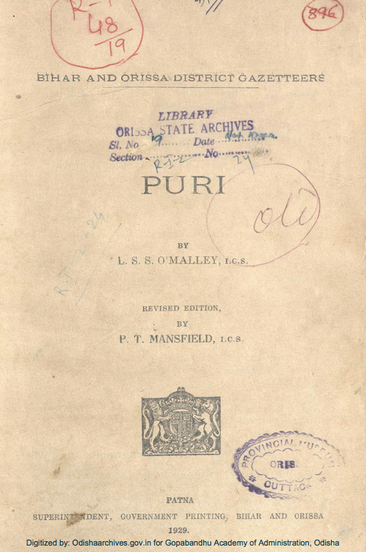 Bihar and Orissa District Gazetteers: Puri