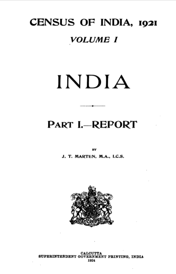 Census of India, 1921; Volume I; Part I - Report