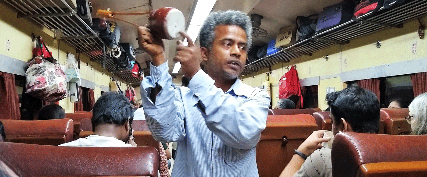 Man selling goods in the train