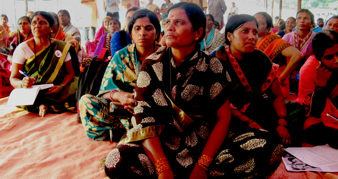 Women sitting at protest