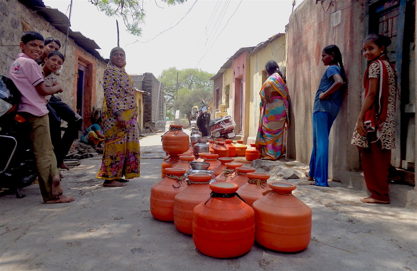 Up election 2017 behind sp congress alliance lies the open pursuit of a polarisating agenda firstpost - A Line Of Orange Pots Outside The House Of A Local Teacher Who Opens Up His Private Borewell To The Public A Few Times Each Week In Takwiki Village
