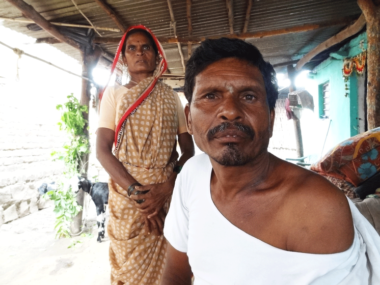 Damu Atram, a Kolam Adivasi farmer in Hiwara Barsa village, got eight stitches on his skull and five on the neck after a tiger attack in May 2018
