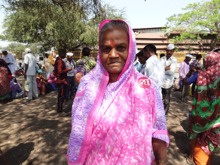 Gangutai (left) and Anandibai (right) are both marching for the second time to Mumbai, demanding land rights and old age pension