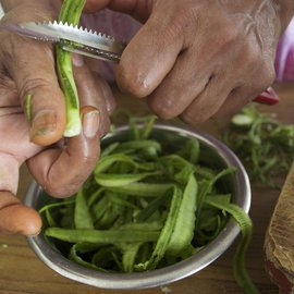 The ridge gourd peels are long and slim, absorbing flavours easily. For the turoi, or ridge gourd, she uses the vegetable and its peel separately to make two different dishes