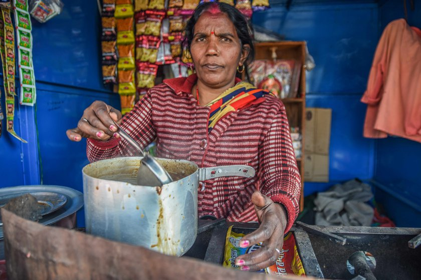 Khushmila Devi, who runs a tea stall with her husband Rajender Prajapati near the protest site, says, 'The farmers provide us food. They are the basis of our existence'