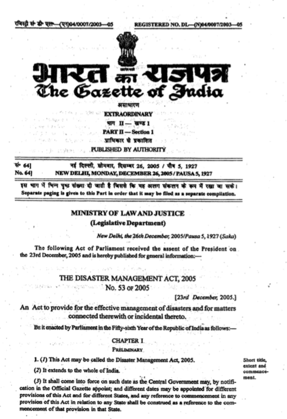 The Disaster Management Act, 2005