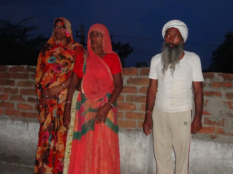 Left: Bholi and her family were forced to leave their home in Dariba village four months after the incident. Right: She moved with her husband Pyarchand (right) and family (including daughter-in-law Hemlata, on the left) to Bhilwara city