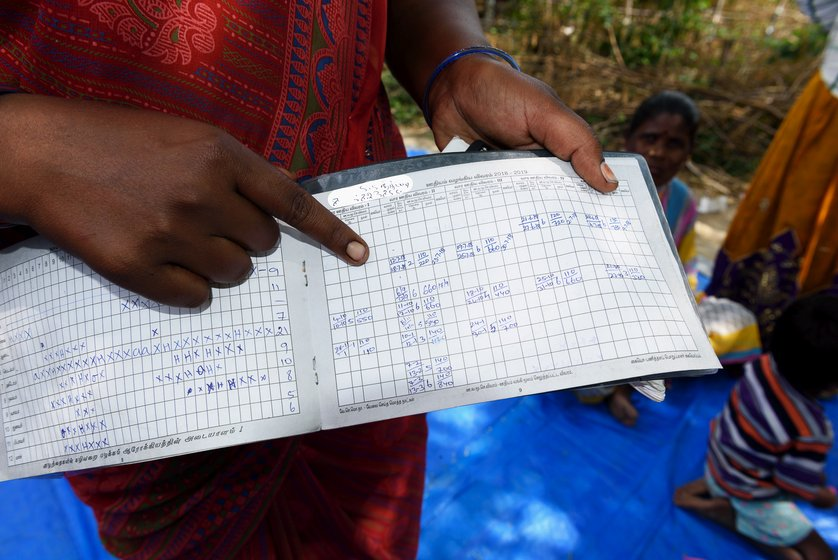 Left: The women of Bangalamedu, an Irular colony in Cherukkanur  panchayat, discuss MGNREGA wages. Right: S Sumathi with her job card. The attendance and wage details on most of the job cards in this hamlet don't tally with the workers' estimates
