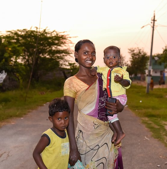 Left: A. Ellamma, 23, stopped going to MGNREGA work when her child was born 2.5 years ago. Right: M. Ankamma, 25, with her two children. On her job, many entries are missing for both attendance and wages