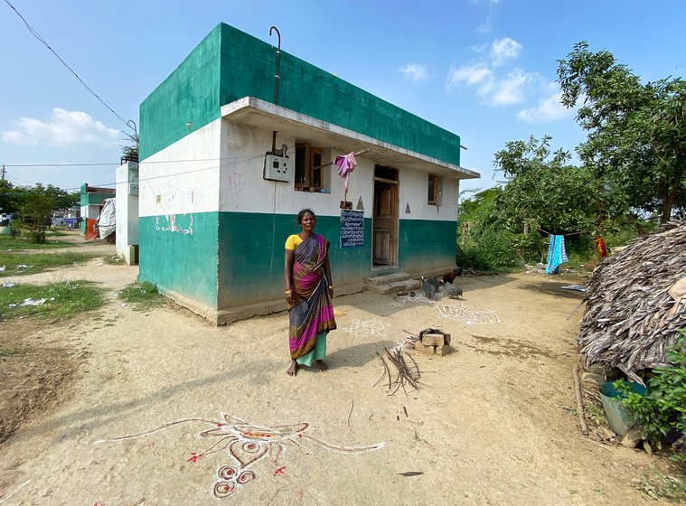 At times, the wages the Irula women count on withdrawing from their accounts fall short, as it did for K. Govindammal  (left) when she constructed a house under the Pradhan Mantri Awas Yojana, and has been the experience of other women too in this small hamlet of Irulas (right)