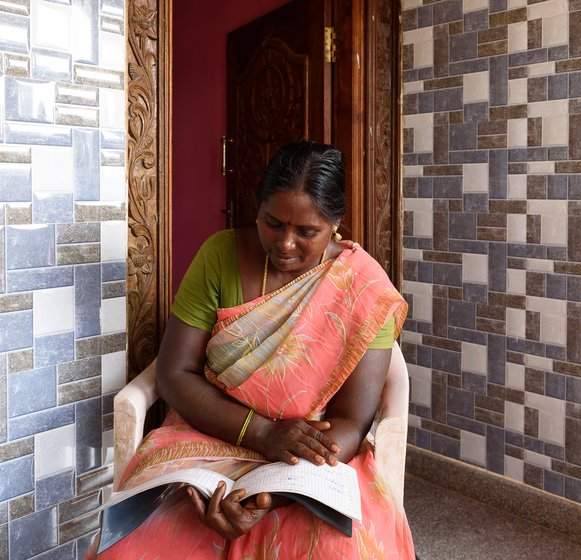 G. Sumathi has been a PP (panidhala poruppalar, the local supervisor) in the past, with her husband K. Sriramulu;  when the lockdown eased, in May, she  used her Rs. 5,000 savings of MGNREGA wages to set up a small shop outside her house