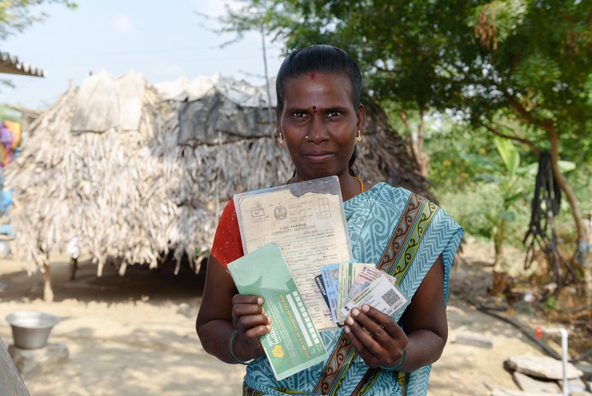 Left: M. Mariammal has ensured all documents are in place so as to not lose out on any benefits. Right: V. Saroja with her NREGA job card, which she got in 2017