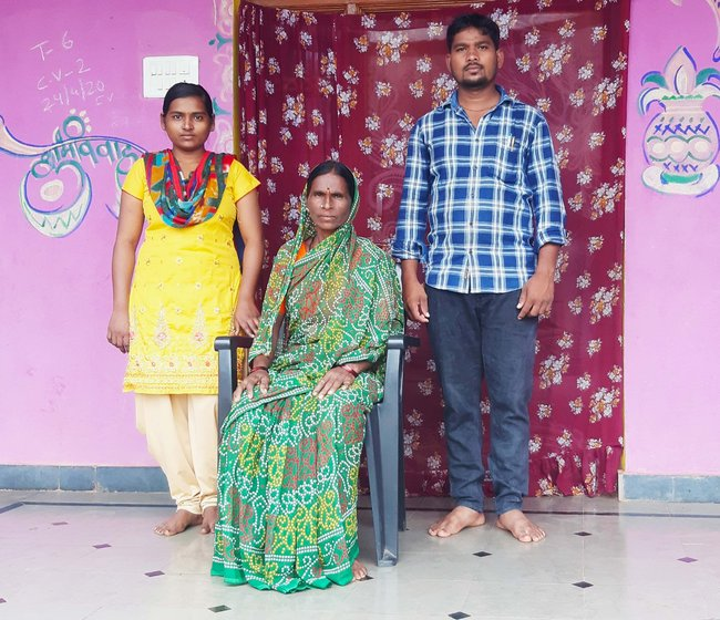 Left: Pritam Kempe with his mother Laxmi Kempe and sister Pooja in Kamthana. Right: Mallamma Madankar of Taj Sultanpur village in Gulbarga district. Both put their career plans on hold and tried their hand at daily wage labour