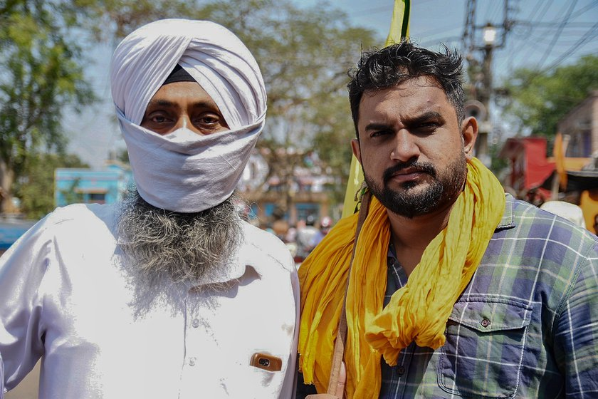 Left: Farmers from Singur and nearby areas gathered for the 'mahapanchayat' on March 14. Centre: Amarjeet Singh, who came from the Dunlop locality, said: 'We couldn't go to Delhi [to join the farmers' protests} but we have come here, and until the black laws are repealed, we will support the agitation'. Right: Jitendra Singh and Navjyot Singh were there because they want the farmers of West Bengal to know more about MSP and the fallouts of the three farm laws