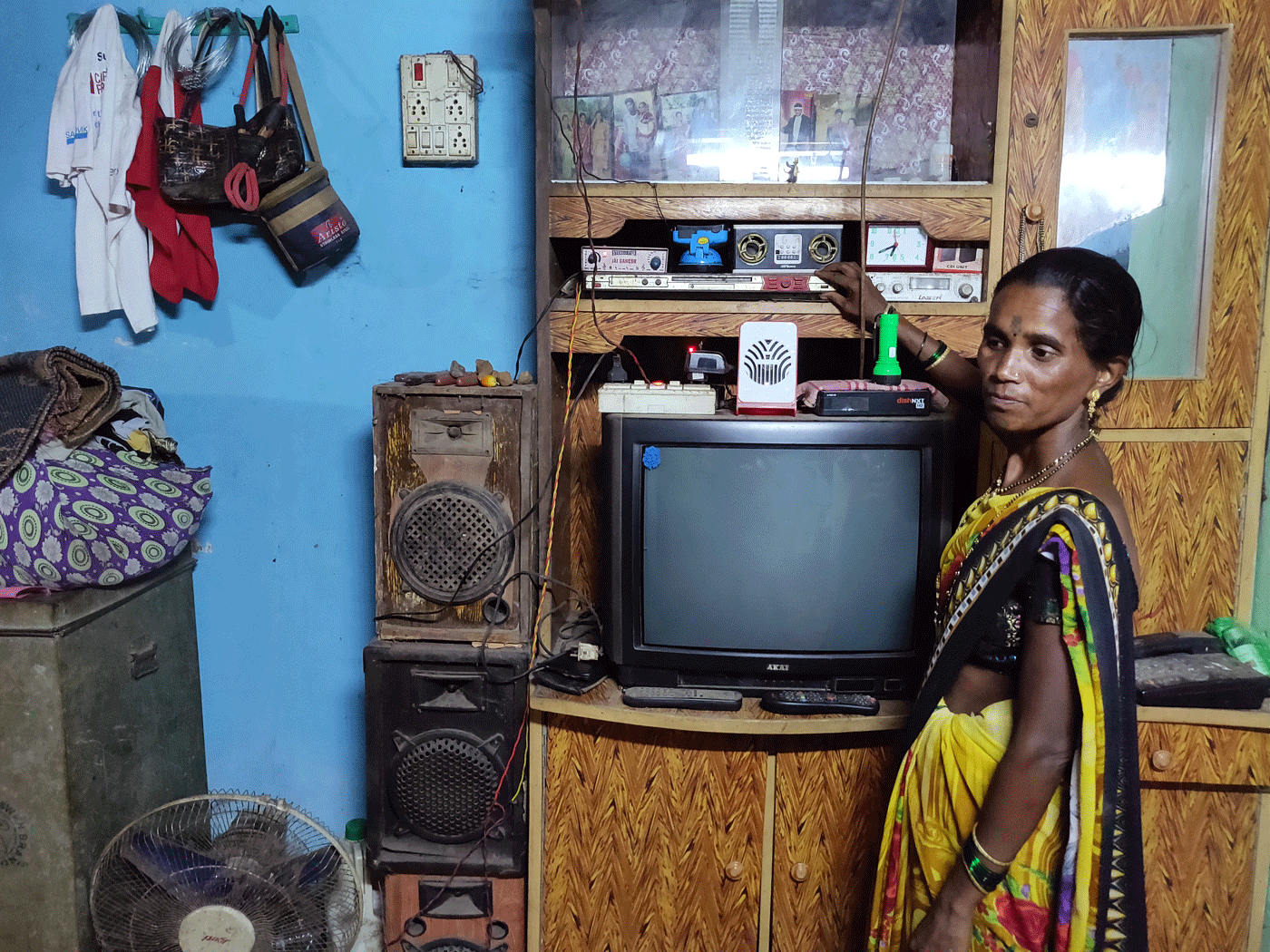 Woman in front of television