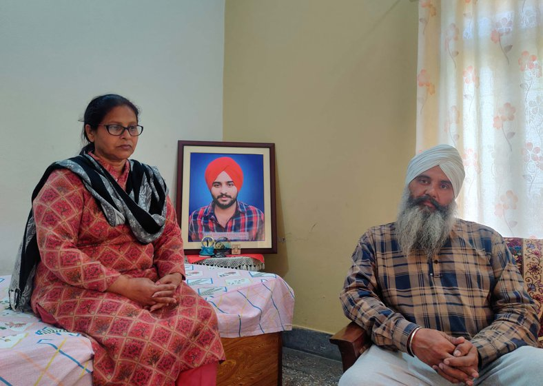 The death of their son, Navreet Singh (in the framed photo), has left a void in Paramjeet Kaur (left) and Sirvikramjeet Singh Hundal's lives.