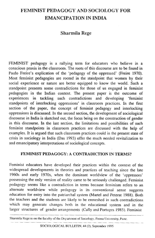 Feminist Pedagogy and Sociology for Emancipation in India