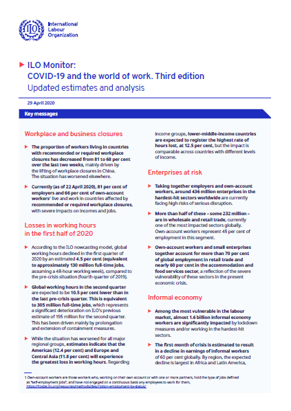ILO Monitor: COVID-19 and the world of work. Third edition