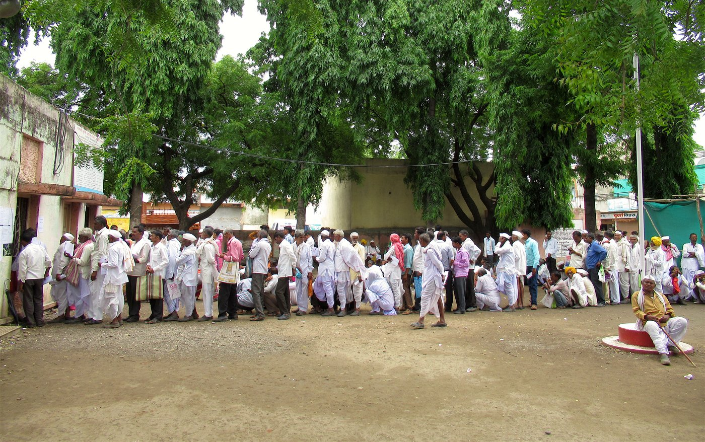 Farmers lined outside the APMC office