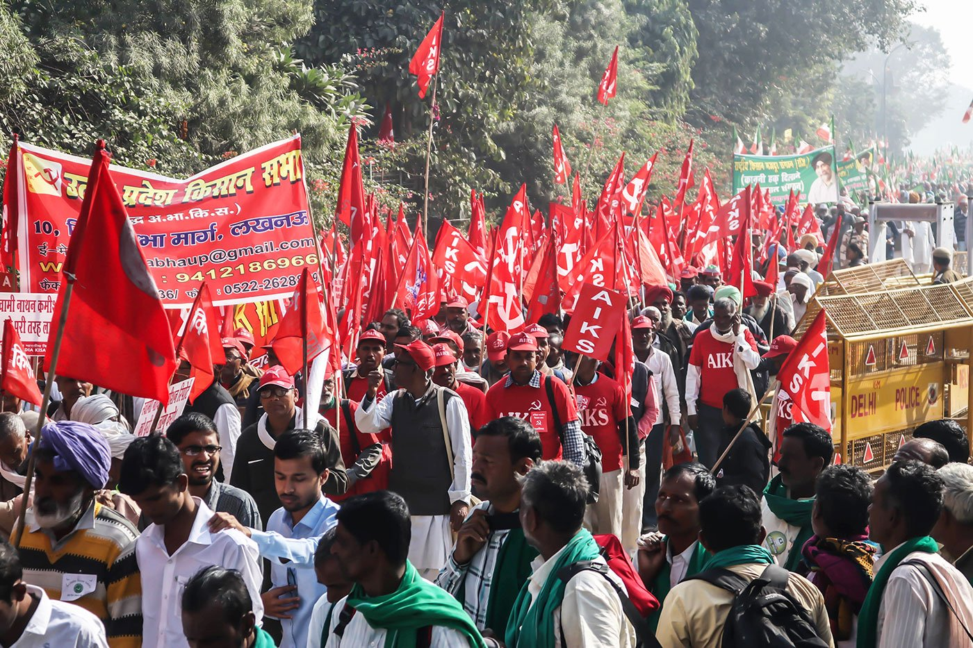 Farmers gather together people from their villages and districts and get ready to march.