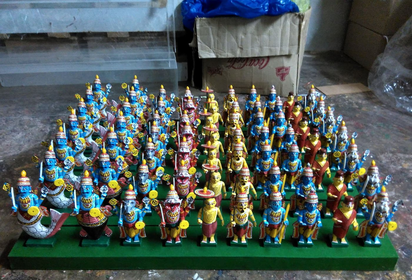 Wooden toys depicting Vishnu's dashavatar displayed