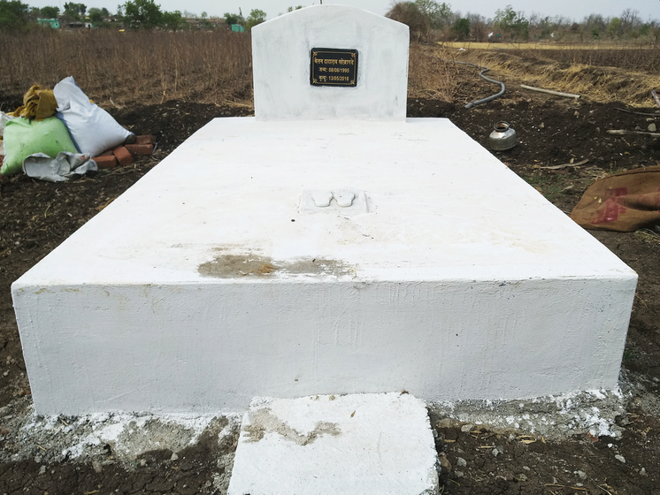 The memorial to Chetan Khobragade in Amgaon. Right: Dadarao Khobragade stands where his son was mauled by a tiger on their farm in Wardha district