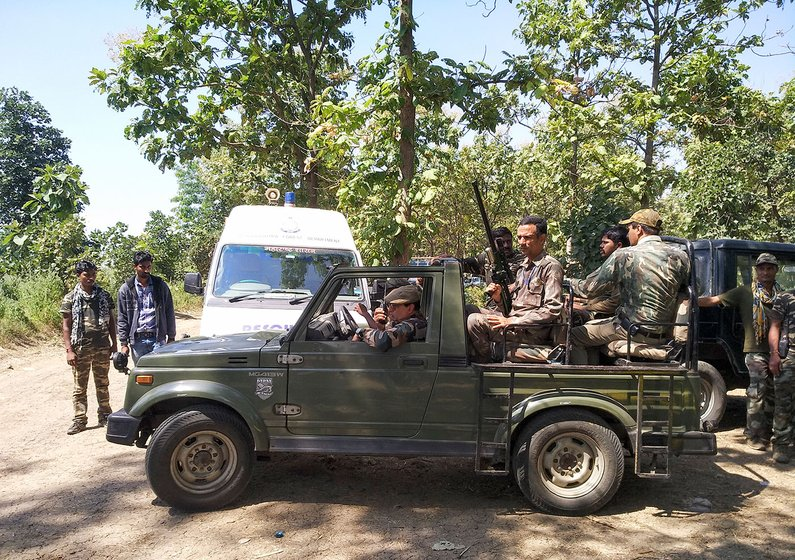 team leaving in their patrolling jeep from the base camp in Loni to look for T1, a hunt that finally ended on November 2, after two months of daily tracking, and two years of the tigress remaining elusive