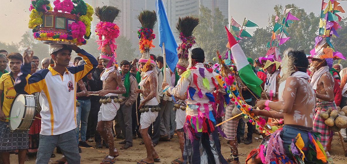 Adivasi farmers from villages of Nandurbar district in Maharashtra performing their traditional dance at Ramlila Maidan