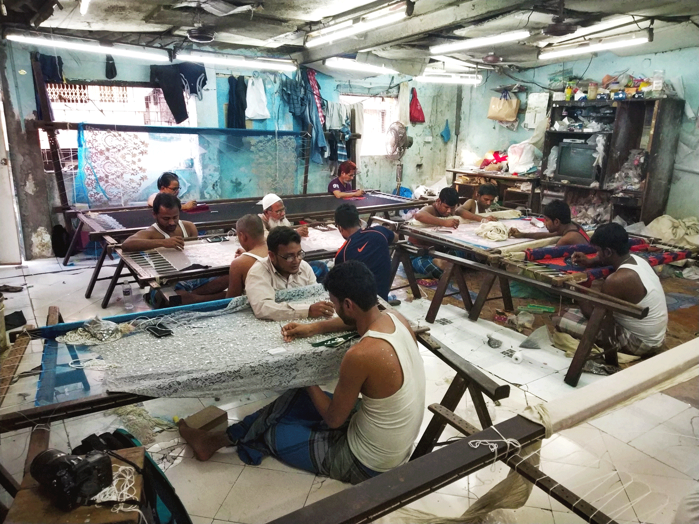 Weavers working factory