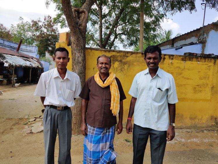 Left: M. Muthu, the chief executive of the temple in Koovalapuram dedicated to a holy man revered in village folklore. Right: T Selvakani (far left) with his friends. They campaign against the 'iscriminatory 'guesthouse' practice but with little success