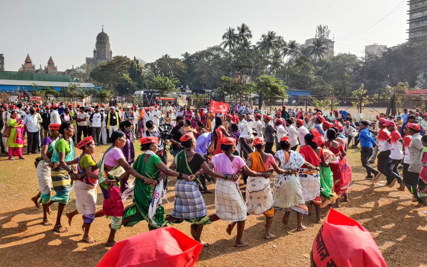 At Mumbai's Azad Maidan, at a farmers' protest in late January, dhumsi and tarpa players from Adivasi communities in Maharashtra's Dahanu taluka opposed the new farm laws through song and dance
