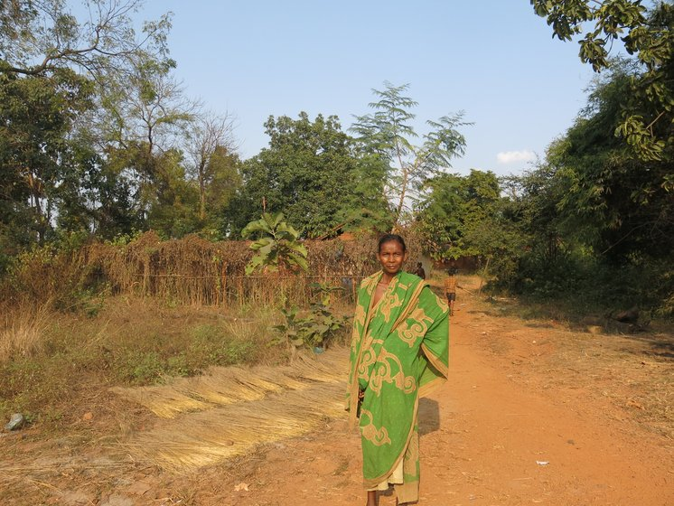 Left: While a  forest department signboard in Patrapali advocates forest protection, officials have issued a clearance for the coal mine, noting that the effect of cutting of 1.3 lakh trees 'will be negligible'. Centre: Bijli Munda of Mundapada, Talabira, with the brooms she makes with forest produce, which she will sell for Rs. 20-25 each. Right: Brooms drying outside houses here; these are just one of the many forest products from which villagers make a livelihood