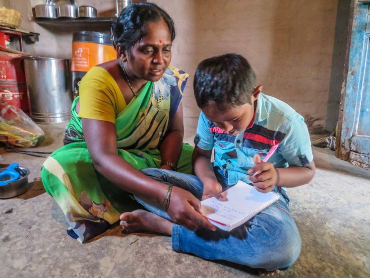 'His teacher gave colour and alphabets charts, but he doesn't listen to us and we also have to work', says Sharada, who handles housework and farm work