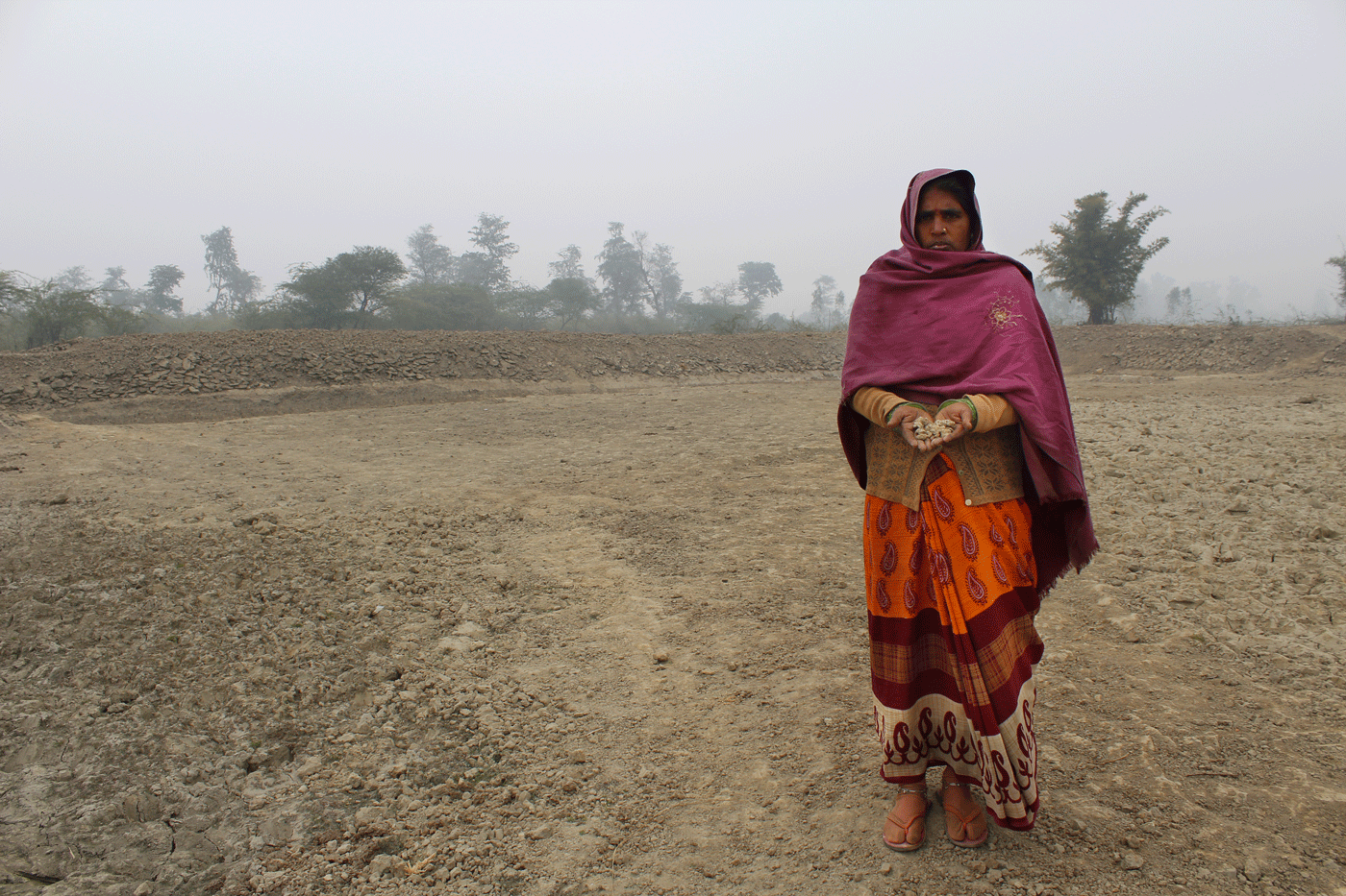 Mula standing in an abandoned land at her village