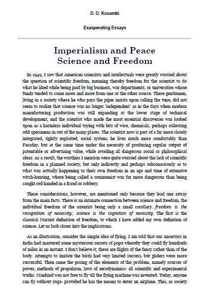 Imperialism and Peace, Science and Freedom