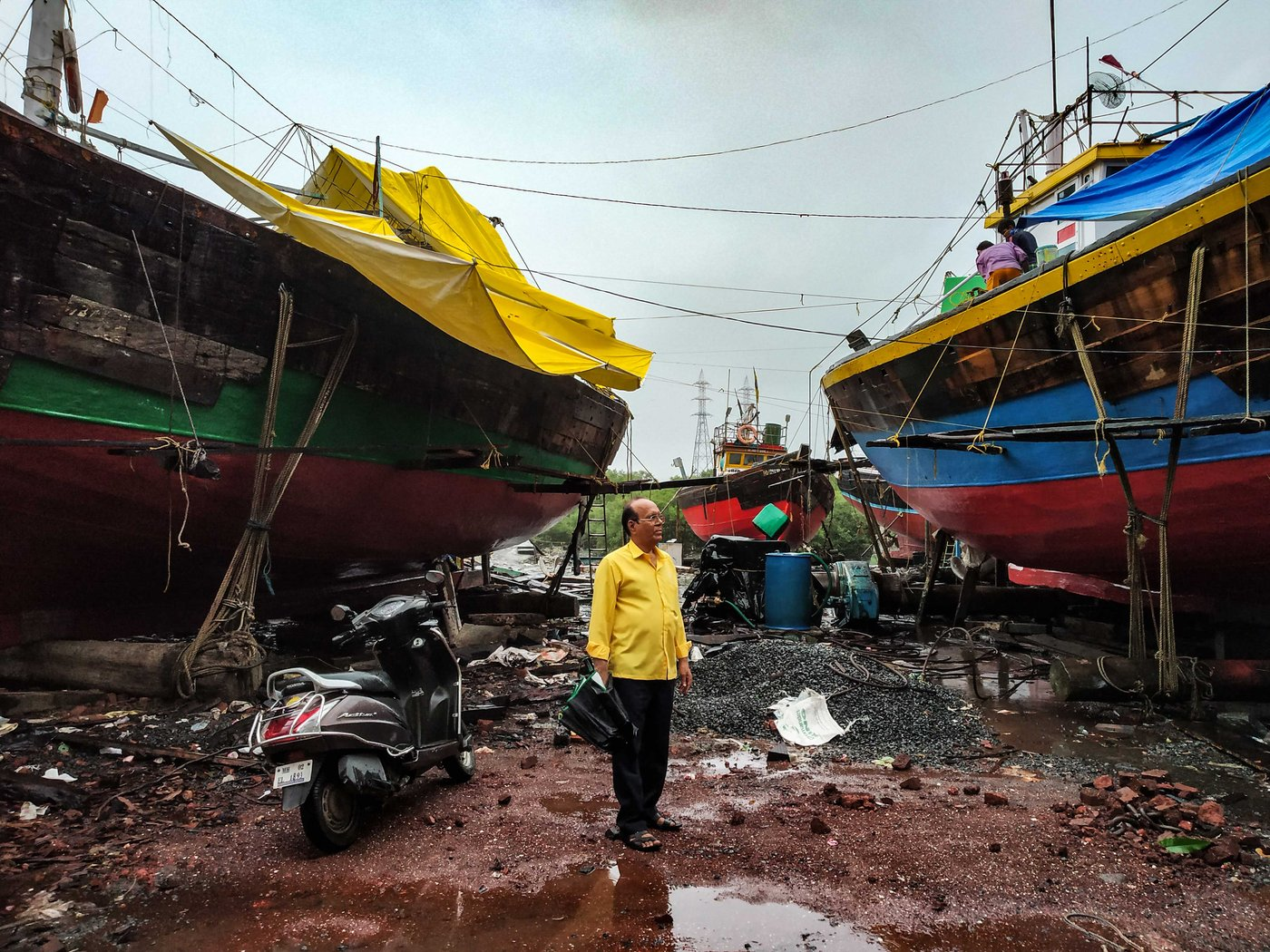 Bhagwan Bhanji in a yard where trawlers are repaired, at the southern end of Versova Koliwada