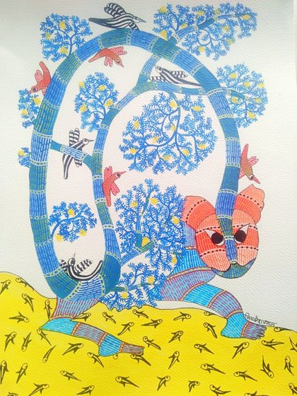 An intricate pattern of dots, dashes and curves fill the larger shapes in a Gond painting.'It takes me two to three days to complete each artwork', Mithlesh says