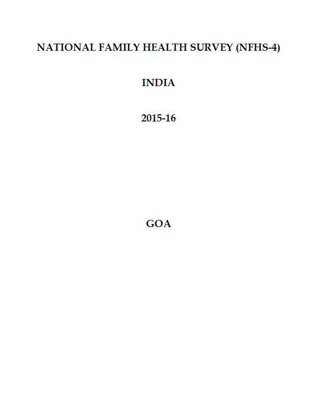 National Family Health Survey (NFHS-4) 2015-16: Goa