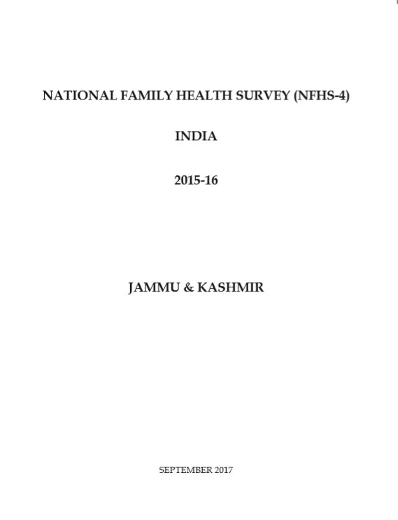National Family Health Survey (NFHS-4) 2015-16: Jammu and Kashmir