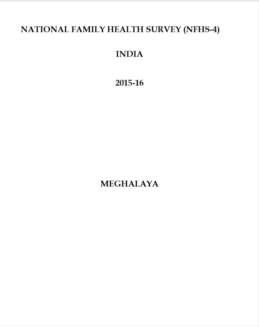 National Family Health Survey (NFHS-4) 2015-16: Meghalaya